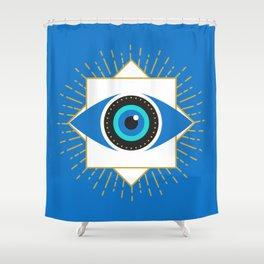 The Evil Eye Blue Shower Curtain