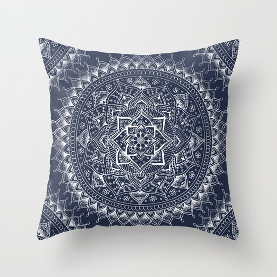 Dark Blue Throw Pillow : White Flower Mandala on Dark Blue Throw Pillow by Laurel Mae Society6