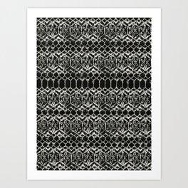 tie dye geometric line in black and white Art Print