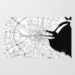 White on Black Dublin Street Map Rug