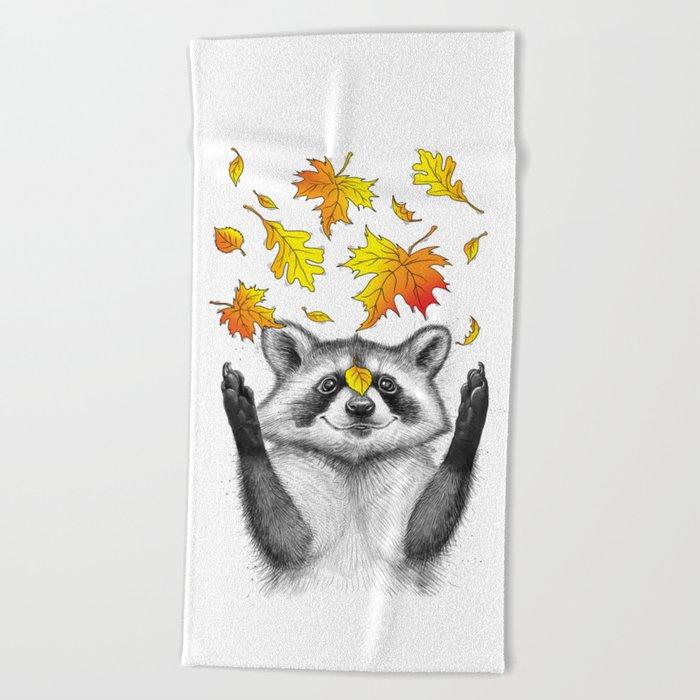 autumn raccoon Beach Towel