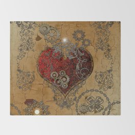 Steampunk, awesome heart Throw Blanket