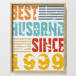 """A Unique Marriage Tee For Partners Saying """"Best Husband Since 1999"""" T-shirt Design Partnership  Serving Tray"""