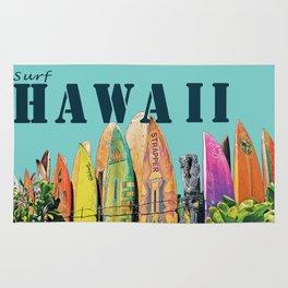 Hawaiian Surfboard Postcard Print Rug