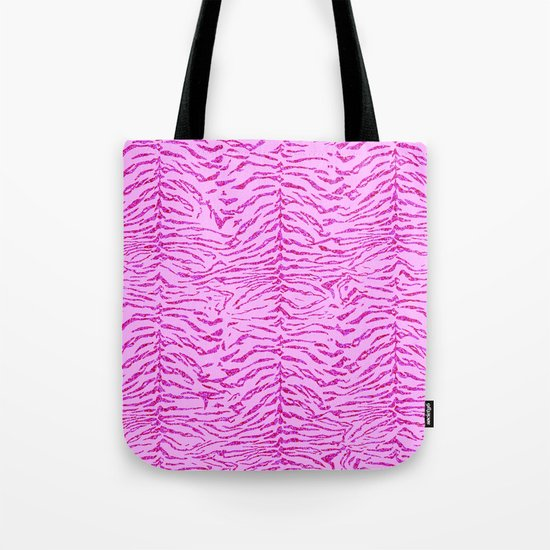 Light Pink Glitter Tiger Print Tote Bag