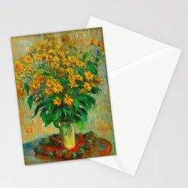 Claude Monet Impressionist Floral Oil Painting Jerusalem Artichoke Flowers, 1880 Stationery Cards