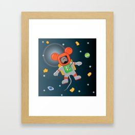 Space Mouse floating in space Framed Art Print