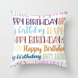 Happy Birthday | Fun & Bright Throw Pillow