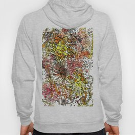 Red Yellow Orange flower watercolor abstraction Hoody
