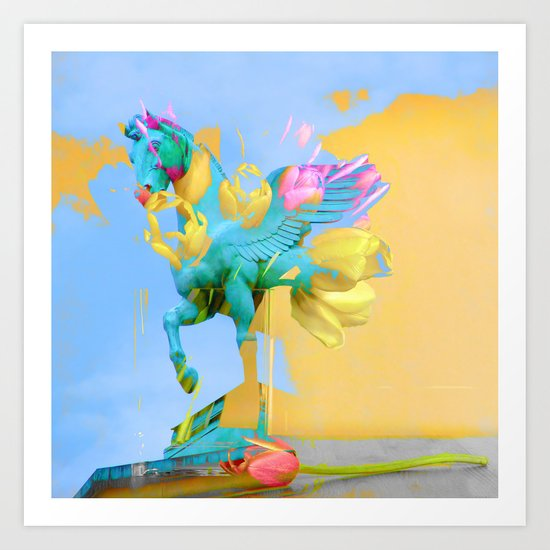 The Fly of Angelic Flowers - Digital Mixed Fine Art Art Print