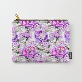 Modern lilac violet watercolor hand painted floral motif Carry-All Pouch