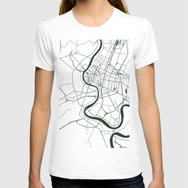 Bangkok Thailand Minimal Street Map - Forest Green and White T-shirt