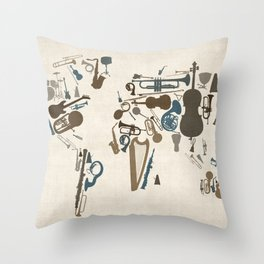 Musical Instruments Map of the World Throw Pillow