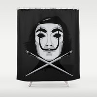 vendetta Shower Curtains featuring D for Dali by I.Nova