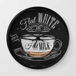 Coffee flat white chalk Wall Clock