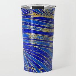 Lapis Lazuli and gold vaves pattern Travel Mug