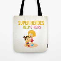 super heroes Tote Bags featuring Super Heroes Help Others by youngmindz