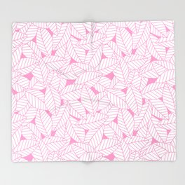 Leaves in Flamingo Throw Blanket