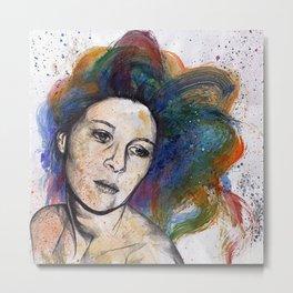Crystal (street art female portrait with rainbow hair) Metal Print