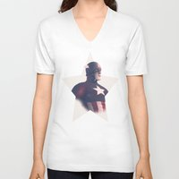 avenger V-neck T-shirts featuring The First Avenger by andbloom