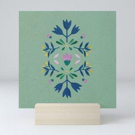 green mint boho Scandinavian flowers Mini Art Print