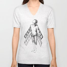 boy draws wings mk-II Unisex V-Neck