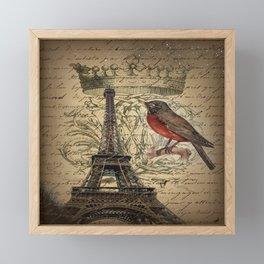 I love Paris Shabby chic Robin French Scripts Jubilee Crown Vintage Paris Eiffel Tower Framed Mini Art Print