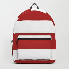 Wide Horizontal Stripes - White and Firebrick Red Backpack