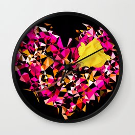 geometric polygon heart shape pattern abstract in pink orange with yellow rose Wall Clock