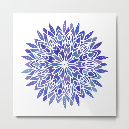 Mandala Vivid Blue Metal Print
