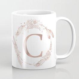 Letter C Rose Gold Pink Initial Monogram Coffee Mug