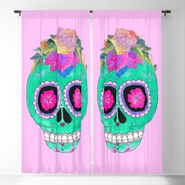 The skull with a flower crown pink Blackout Curtain