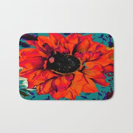 Orange Sunflower & Teal Contemporary Abstract Bath Mat
