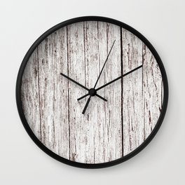 Pale Brown Wood Cottage Chic Rustic Wood Grain Texture Wall Clock