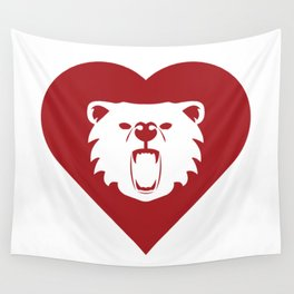 Bear Mascot Cares Red Wall Tapestry