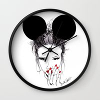 minnie mouse Wall Clocks featuring Minnie Mouse by Bella Harris