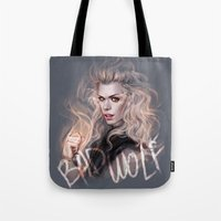 bad wolf Tote Bags featuring Bad Wolf by jasric