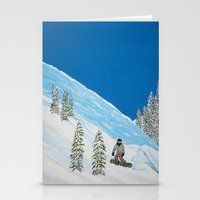 snowboarding Stationery Cards featuring Snowboarding by N_T_STEELART