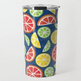 Vitamin C Super Boost - Citric Fruits on Blue Travel Mug