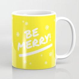 Bright Yellow Be Merry Christmas Snowflakes Coffee Mug