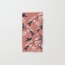 Birds, Leaves & Branches, Pinks and Navy Hand & Bath Towel