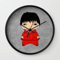 akira Wall Clocks featuring A Boy - Kaneda (Akira) by Christophe Chiozzi