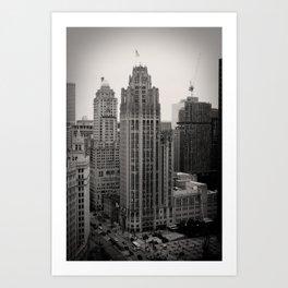 Chicago Tribune Tower Building Black and White Photo Art Print