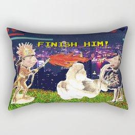 8-bit Finish him! (collage) Rectangular Pillow