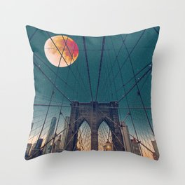Blood Moon over the Brooklyn Bridge and New York City Throw Pillow