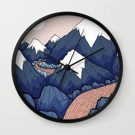 The twisting river in the mountains Wall Clock