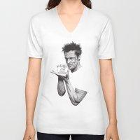 tyler durden V-neck T-shirts featuring Tyler Durden II by Rik Reimert