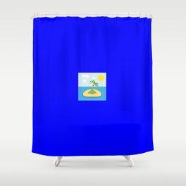 Island emoji on internet blue Shower Curtain