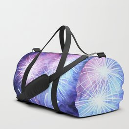 Blue and pink fireworks Duffle Bag
