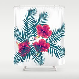 Palm Leaves and Hibiscus Flowers Shower Curtain